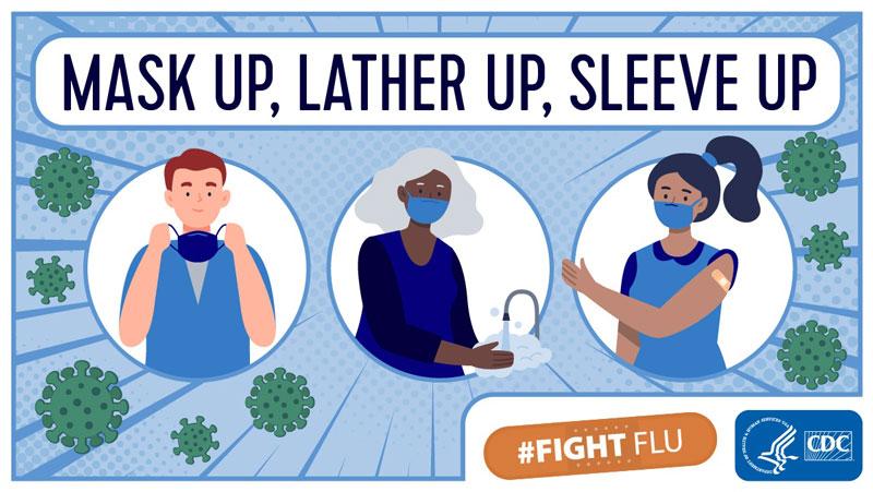 CDC Fight Flu: Mask up, Lather up, Sleeve up