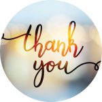 thank you script on blurred lights background