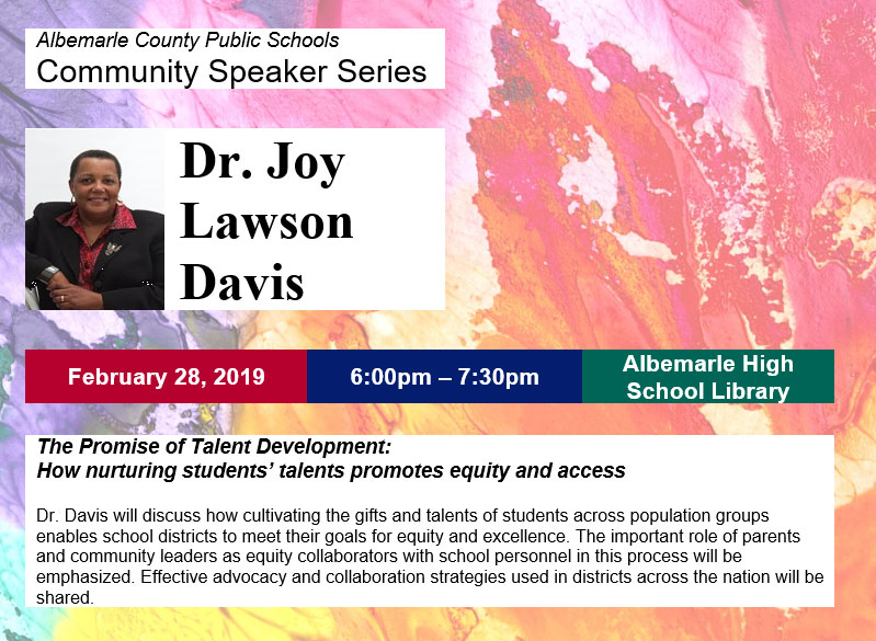Community Speaker Series - Dr. Joy Lawson Davis