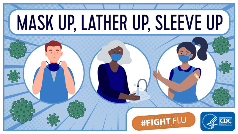 CDC Fight Flu: Mask up, Lather up, Sleeve up