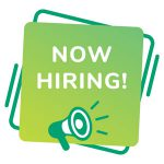 Now Hiring sign with green megaphone