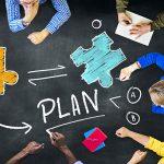 Plan jigsaw teamwork concept