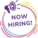 Now Hiring with purple megaphone