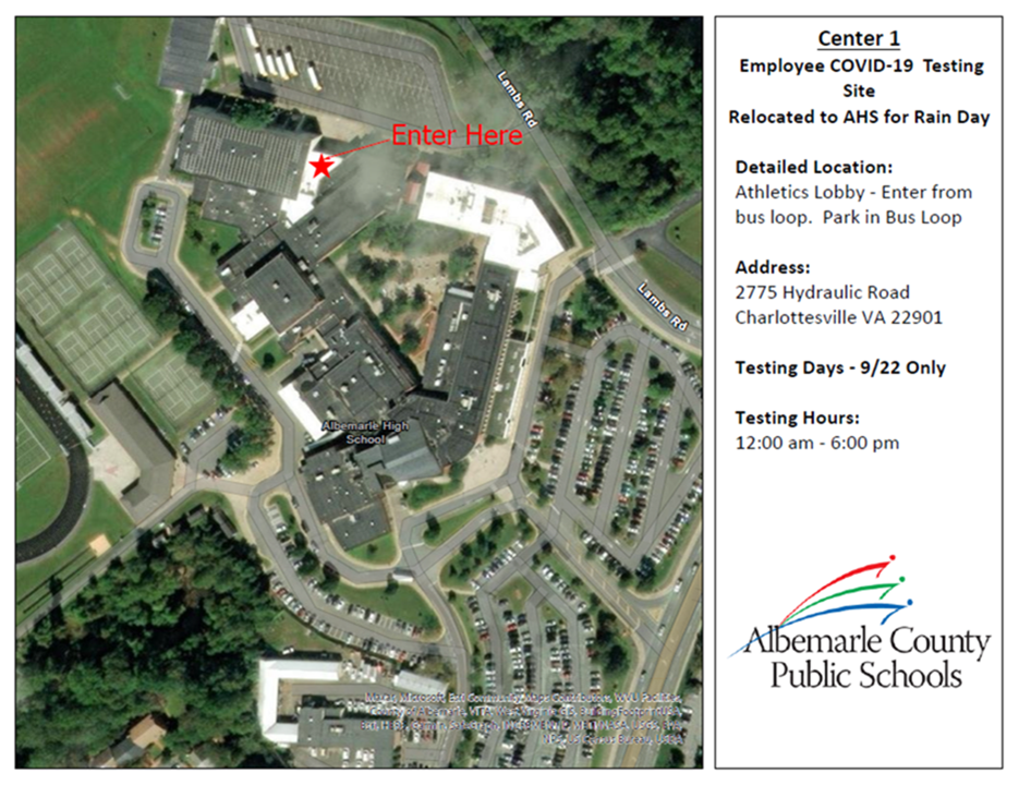 map of AHS COVID-19 testing site 9/22/2021 only