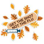fall leaves with bandage that reads: Get the shot, not the flu